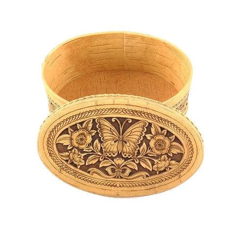 Russian Gifts Schmetterling Oval Deckel Birkenrinde Box 125