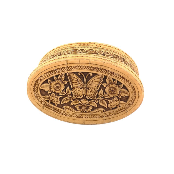 Schmetterling Oval Deckel Birkenrinde Box 125