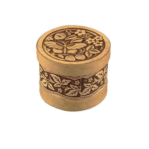 Russian Gifts Caja de corteza de abedul con tapa redonda de mariposa pequeña 124