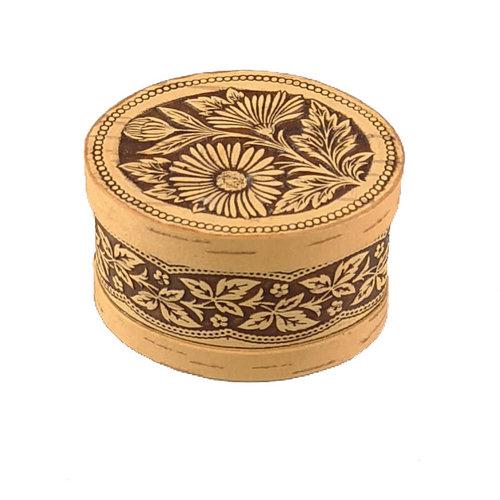 Russian Gifts Caja de corteza de abedul con tapa Daisy pequeña 123