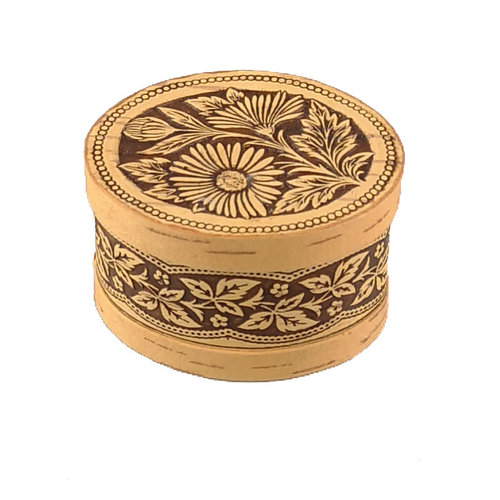 Russian Gifts Daisy lidded Birch bark box small 123