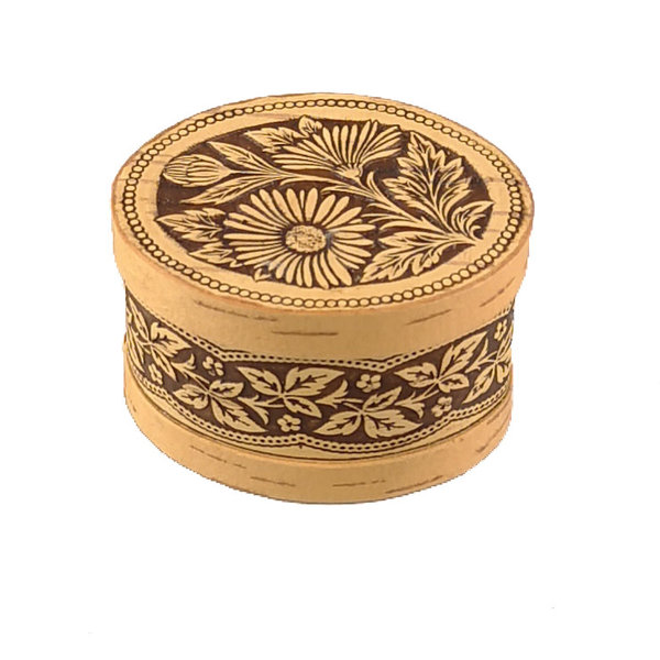 Daisy lidded Birch bark box small 123
