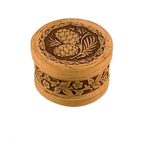 Russian Gifts Cono de abeto con tapa redonda Caja de corteza de abedul pequeña 122