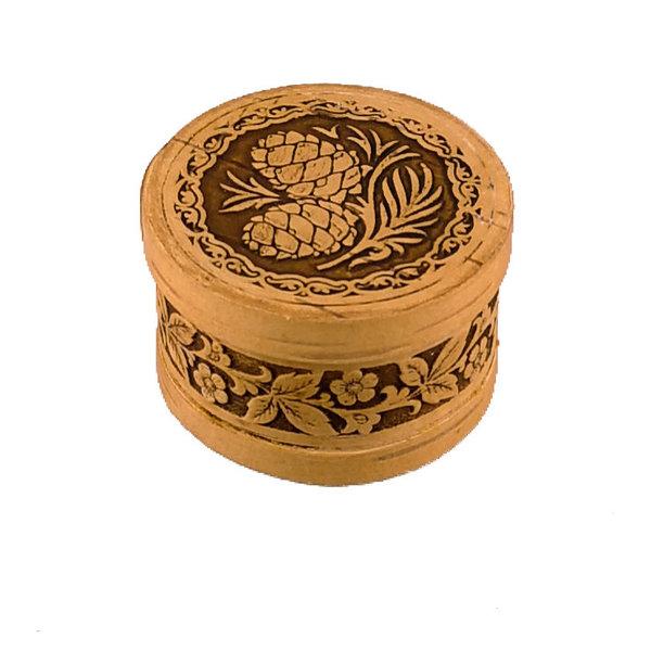 Fir cone round  lidded Birch bark box small 122