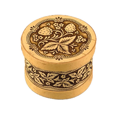 Russian Gifts Strawnerruy round  lidded Birch bark box small 121