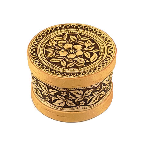 Russian Gifts Flower round  lidded Birch bark box small 120
