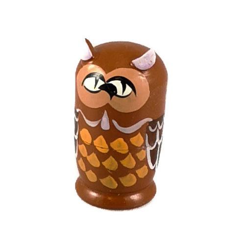 Russian Gifts 5  Nesting  Tawny Owl  mini  116