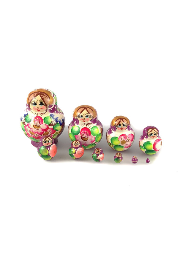 10 Nesting Martyoshka Doll Purple Small 111