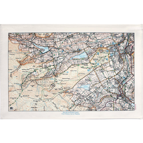 Jane Revitt Haworth and Bronte Country  Map T. Towel 05
