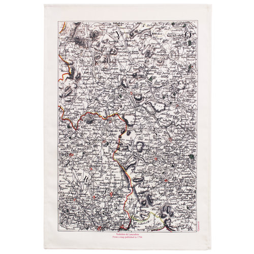 Jane Revitt Yorkshire & Lancashire 1794  Map T. Towel 04