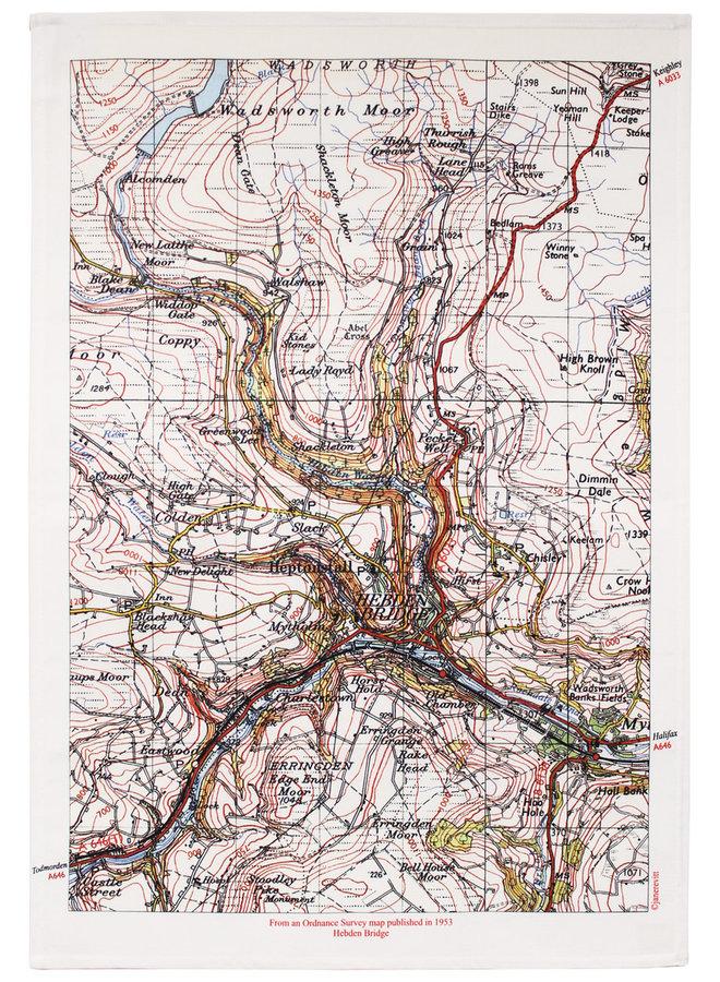 Hebden Bridge Map T. Handtuch 03