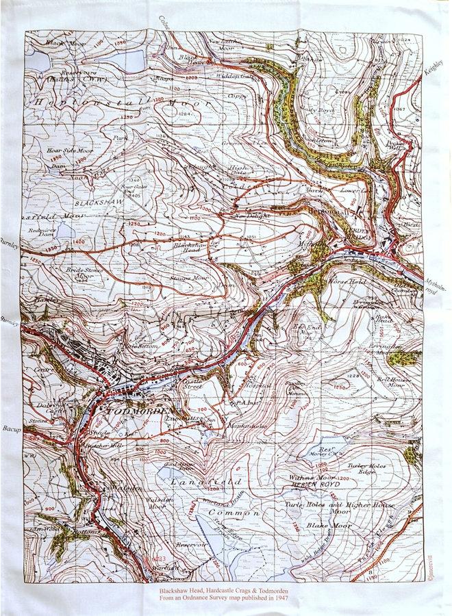 Todmorden , Blackshaw Head, Hardcastle Craggs Map  1947 T. Towel 02