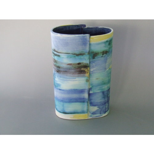 Dianne Cross Wrapped Bright Seashore Vessel  Stoneware 13