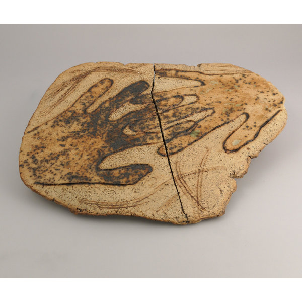 Hands Together (and apart) stoneware wall plaque 048