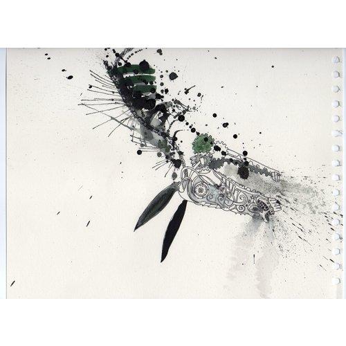 Louis Benoit Jackass Head  pen and ink 001