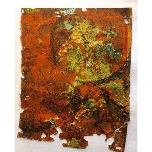 Susan Wright Tierra ardiente Monoprint y aguafuerte 18