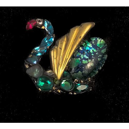Annie Sherburne Vintage Blue Swan  brooch  139