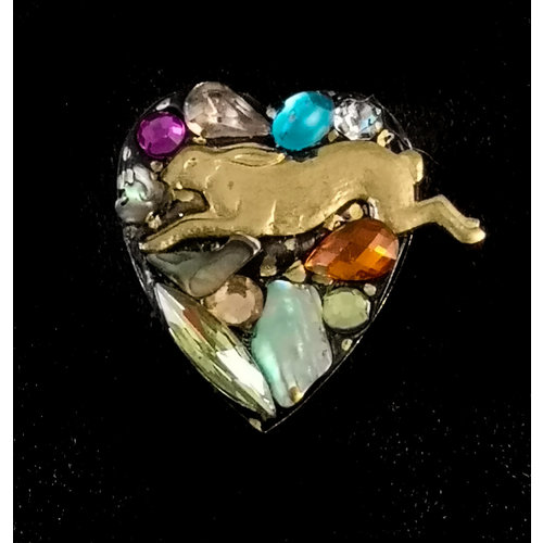 Annie Sherburne Vintage Heart with Hare  brooch 135