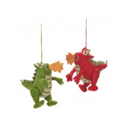 Felt So Good Fire Dragon Green or Red  Felt Ornament 015