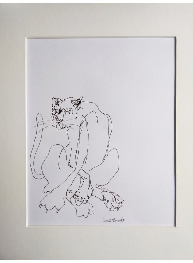 Cat in the Corner  pen and ink 012