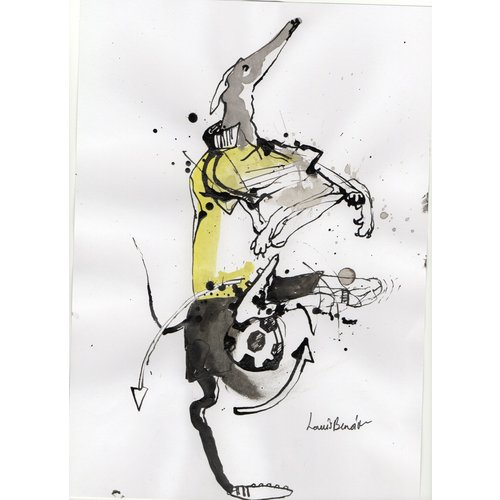 Louis Benoit Lurcher Demonstrating The Around The World  pen and ink 009