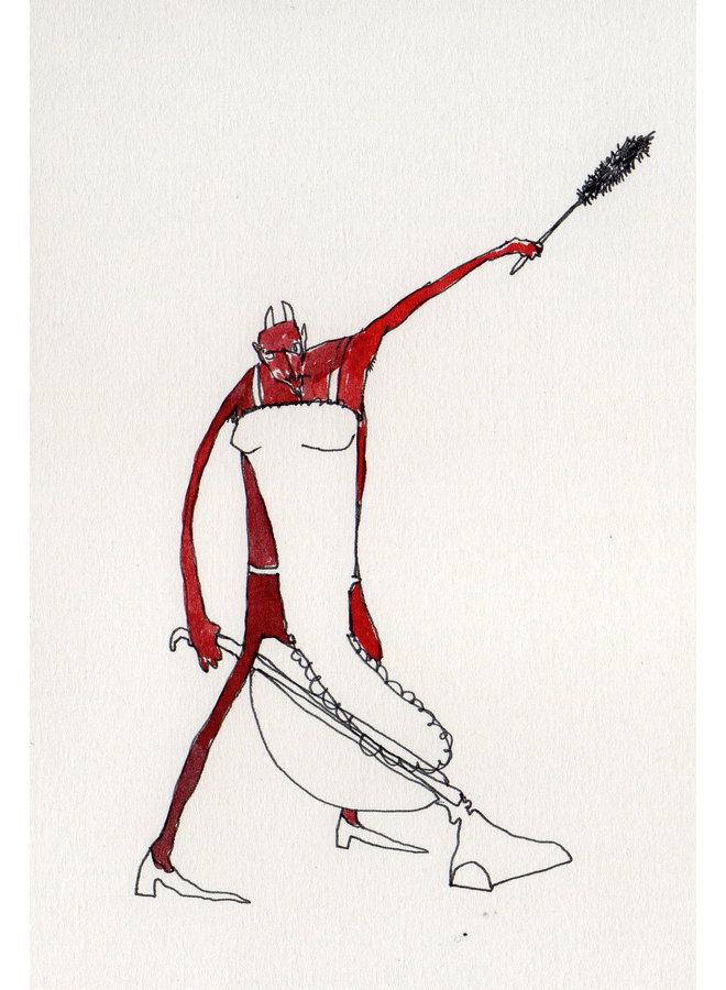 Multi-Tasking Devil  pen and ink 006