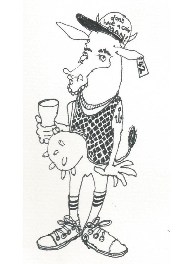 Cow in a String Vest  pen and ink 005