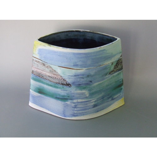Dianne Cross Summer Shoreline Angled Vessel Large  Stoneware   21
