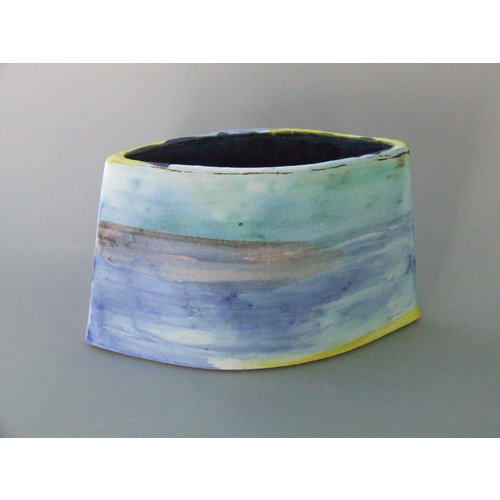Dianne Cross Misty Shoreline Angled  Vessel  Stoneware No 2.  16