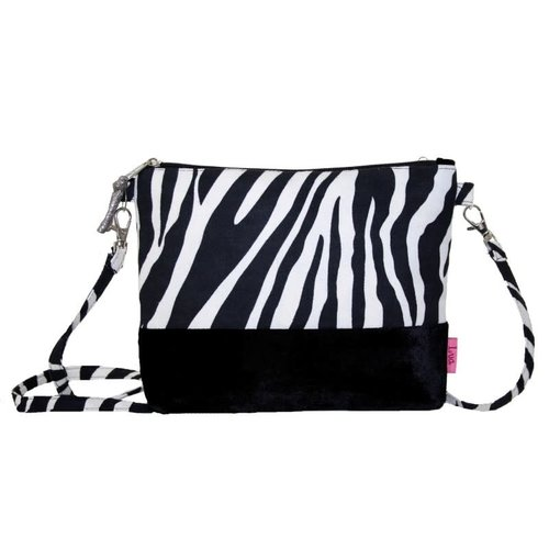 LUA Banded Velvet and Zebra Messenger Bag Black  254