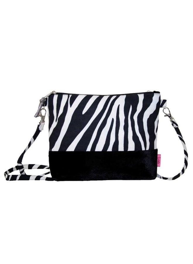 Gebänderte Umhängetasche aus Samt und Zebra, schwarz 254