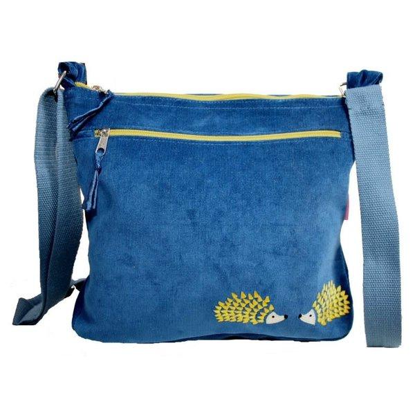 Hedgehog Embroidered Messenger Bag Petrol Blue 248