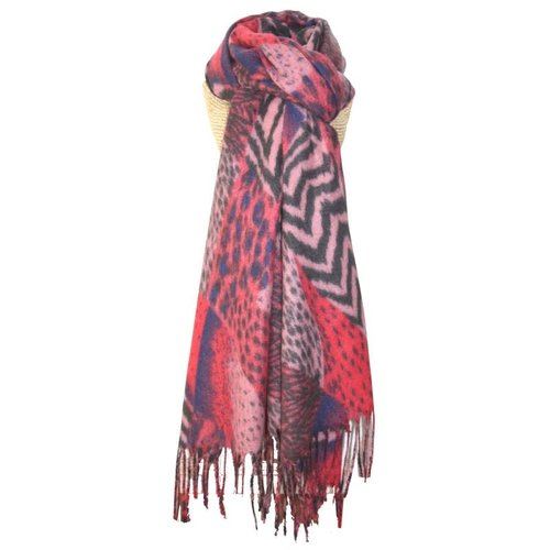 LUA Animal Print Fringed Scarf Pink 247