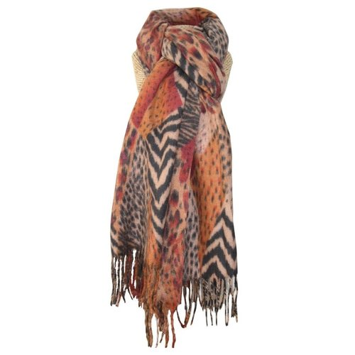 LUA Animal Print fringed scarf Orange 246