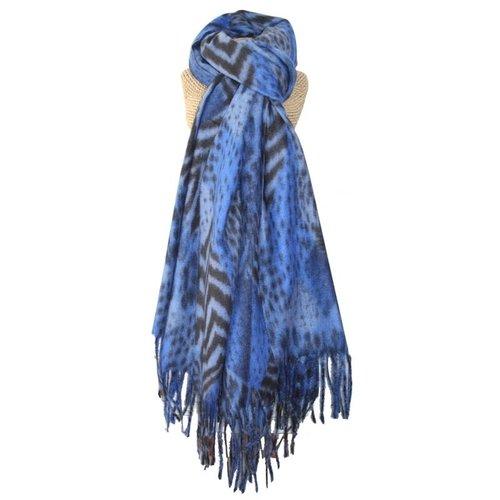 LUA Schal mit Fransen und Animal-Print Blau 245