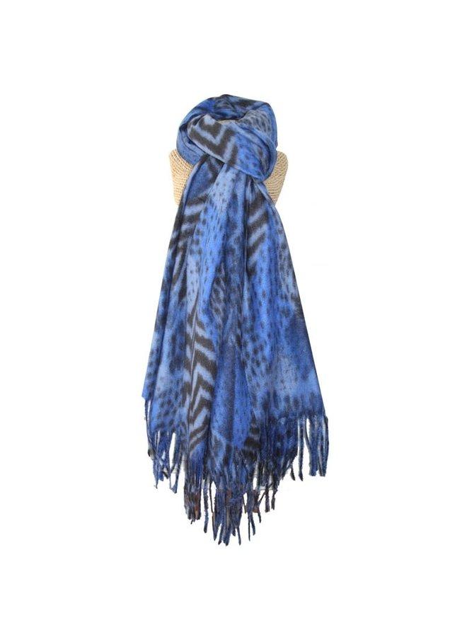 Schal mit Fransen und Animal-Print Blau 245
