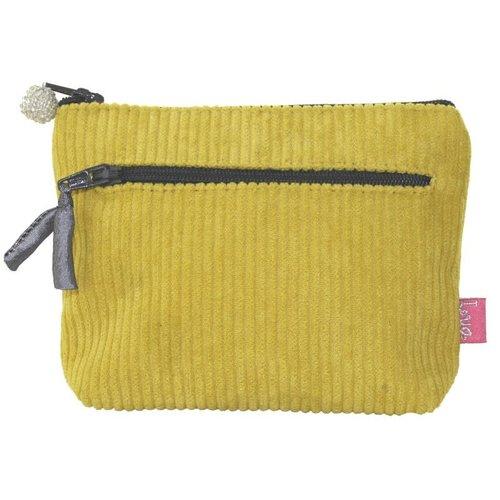 LUA Zipped Purse Jumbo Coruroy Yellow 271