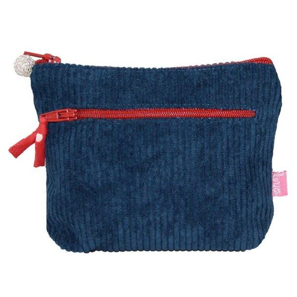 Zipped Purse Jumbo Coruroy Teal/Brick 269