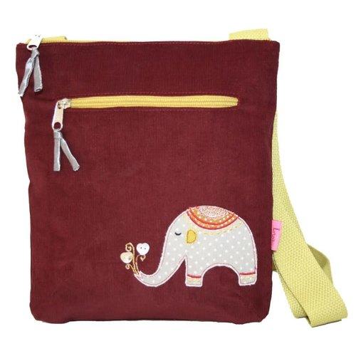 LUA Elephant Applique  Messenger Bag Burgandy 256