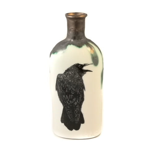 Jillian Riley Designs Raven with open beak bottle 127