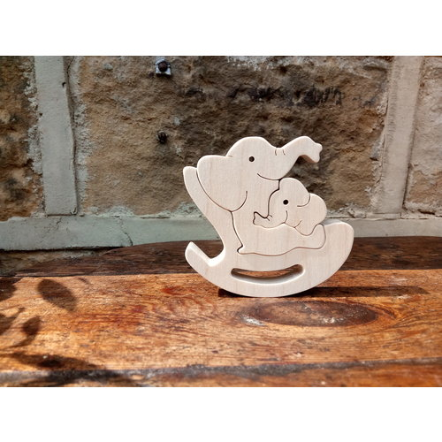 Woofer Wood Elephant Rocker 06