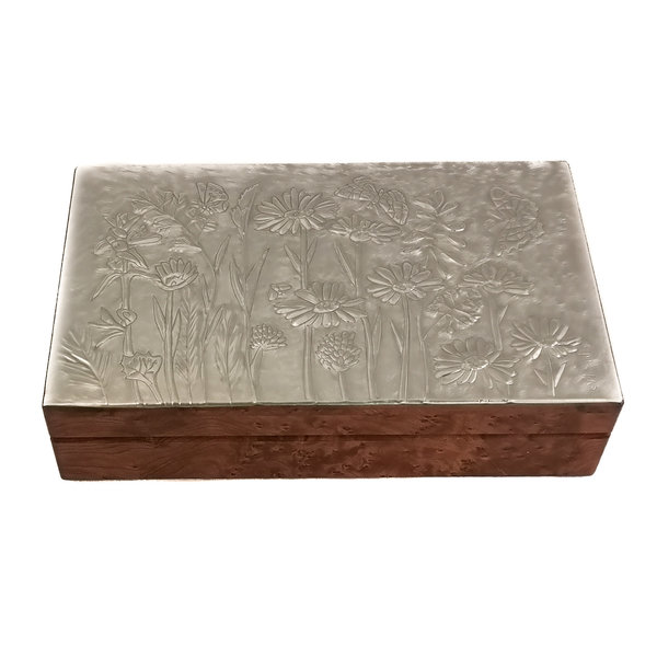 Butterflyies Pewter and wood hinged box 11 sections 024