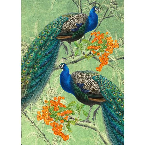Two Peacocks and Orange Berries Card