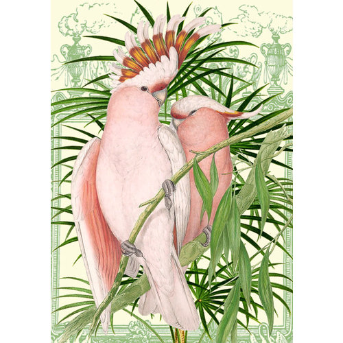 Madame Treacle Pink Parrots  Card