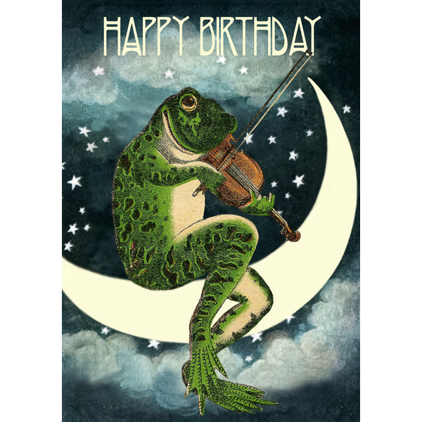 Frog on the Moon card