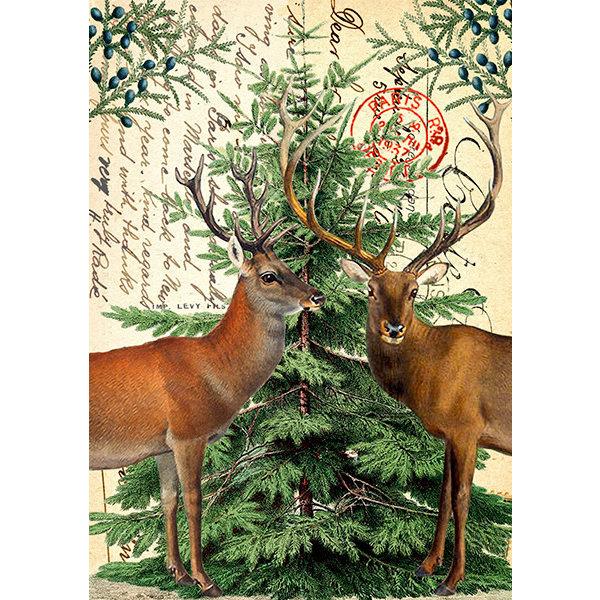 Christmas Deer on Vintage Page card