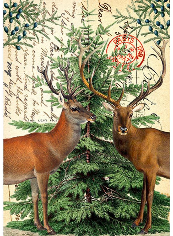 Weihnachtshirsch auf Weinlese-Seitenkarte