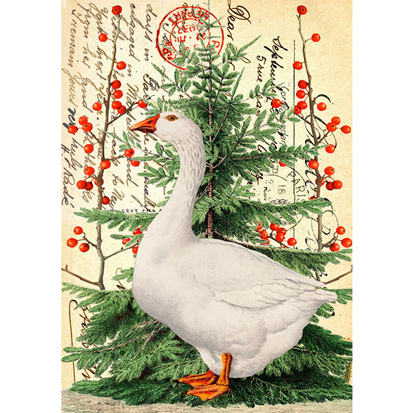 Christmas Goose on Vintage Page card