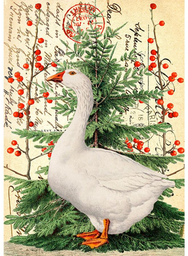 Weihnachtsgans auf Weinlese-Seitenkarte