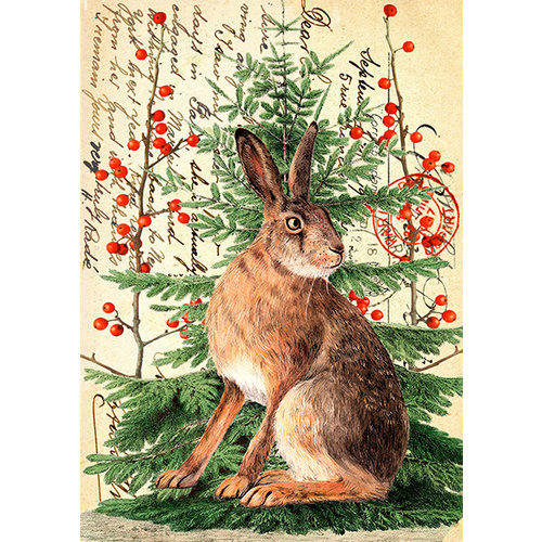 Madame Treacle Christmas Hare on Vintage Page card